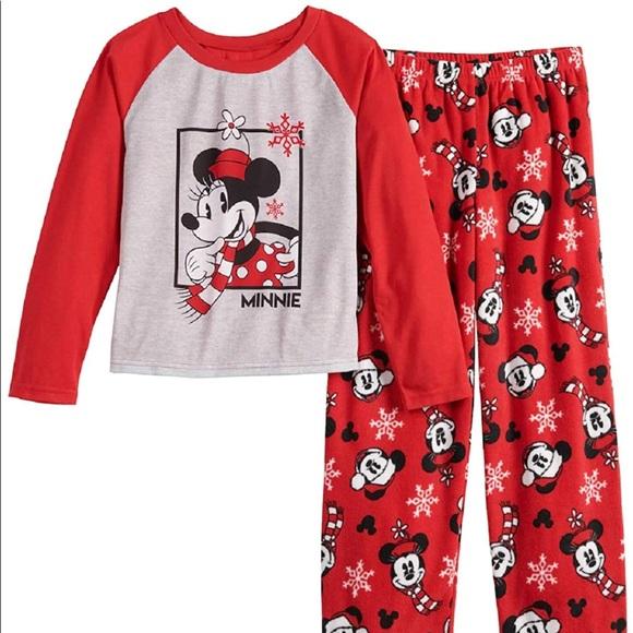 NEW Disney Mickey Mouse Women/'s Fleece Pajamas Shirt Top Pants Leopard Print